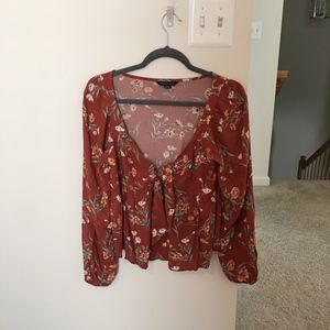 American Eagle Front Tie Floral Blouse